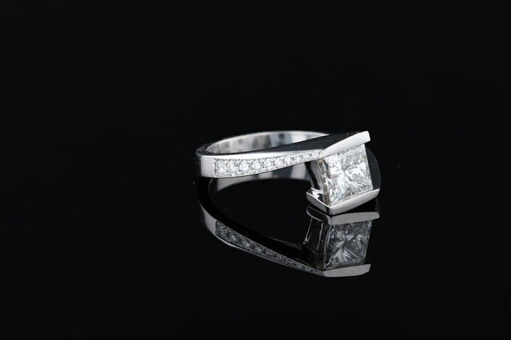 Princess Cut Center Stone Engagement Ring