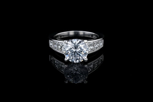 Round Solitaire Diamond Ring, Channel Set Band
