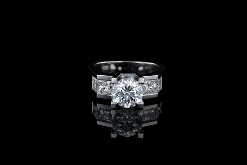 Channel Set Ring with Round Center Stone, Accent Gems