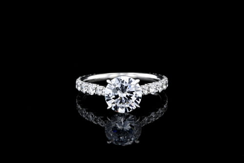 Round Solitaire Pave' Set Diamond Band