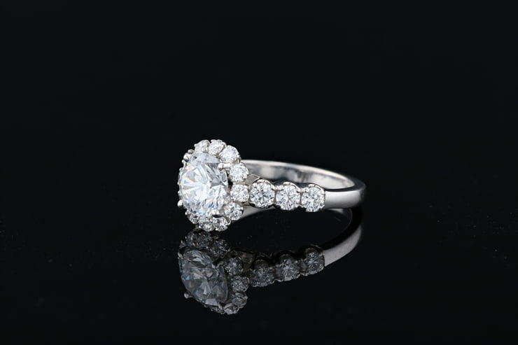 Flower Diamond Halo Ring
