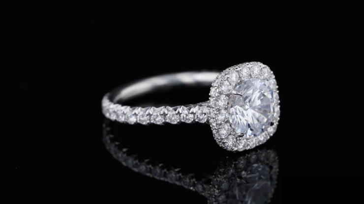 Cushion Halo, Round Pave' Ring