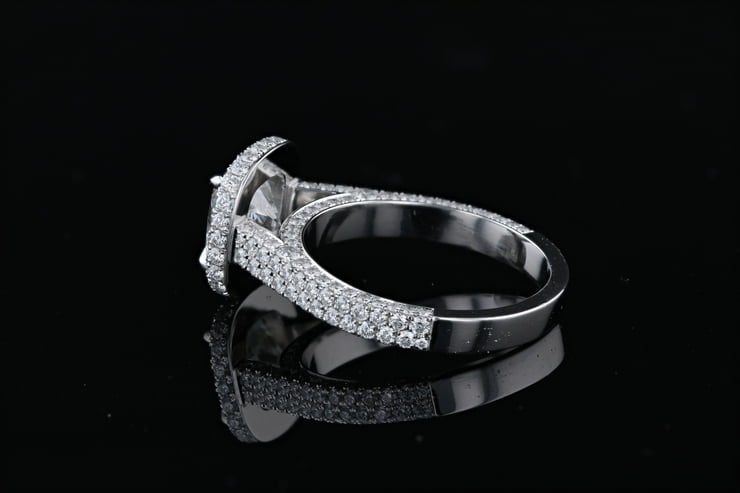 Cushion Halo, 3 Sided Pave' Ring