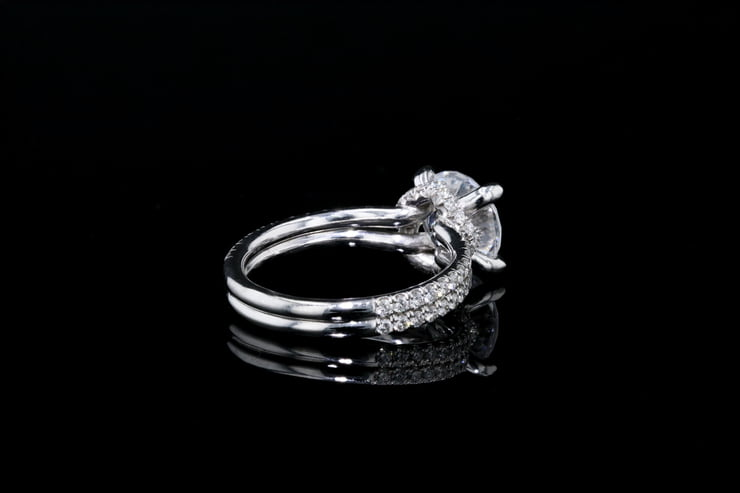 Crown Solitaire 2 Row Pave' Band