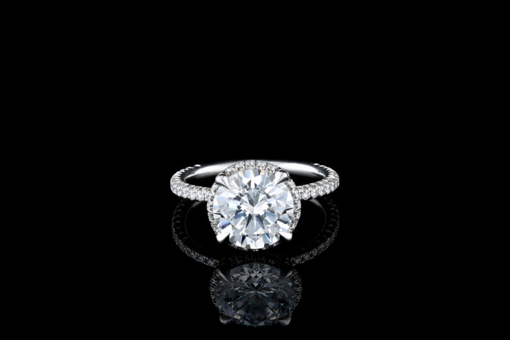 Round Hidden Halo Diamond Ring