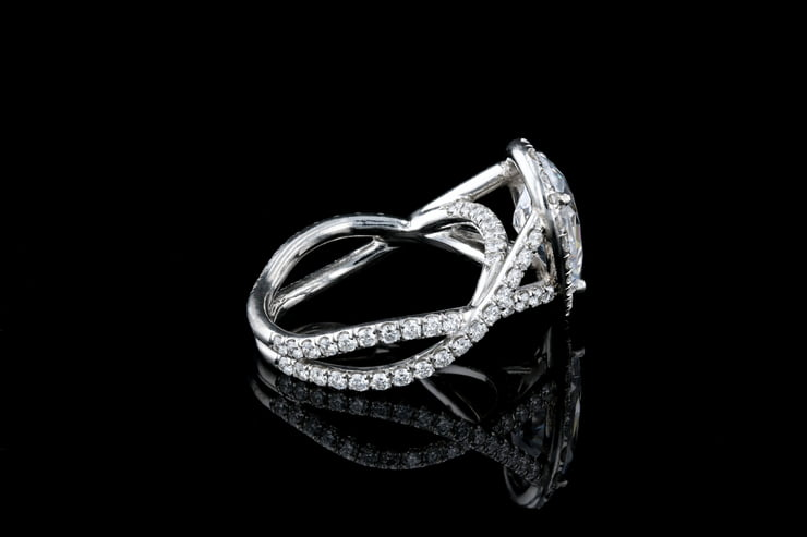 Pear Halo, Braided Pave' Ring