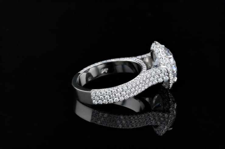 Round Halo, 3 Sided Pave' Ring