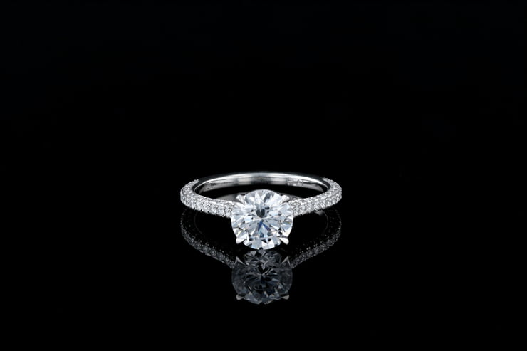 Round Solitaire Thin 3 Sided Pave' Band