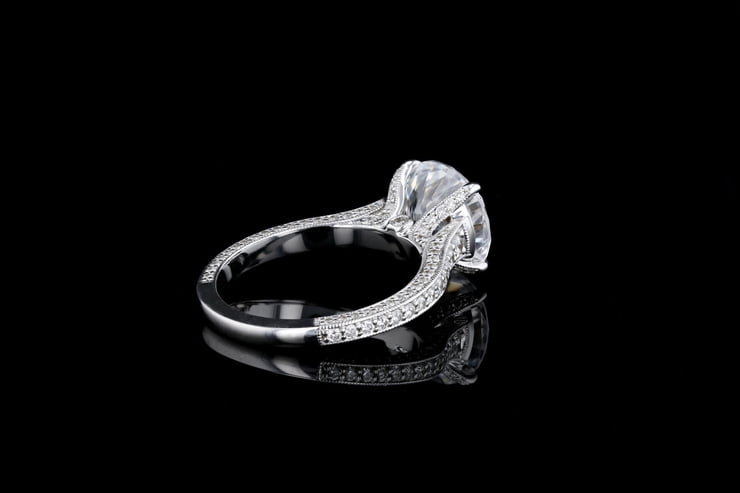 Vintage Pave' Set Solitaire Ring