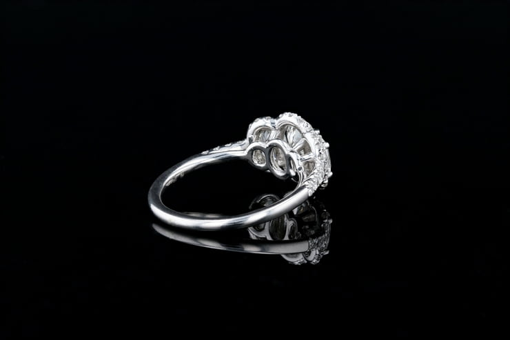 Oval 3 Stone Halo, Pave' Ring