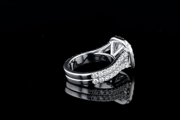 Cushion Halo, Split Pave' Ring