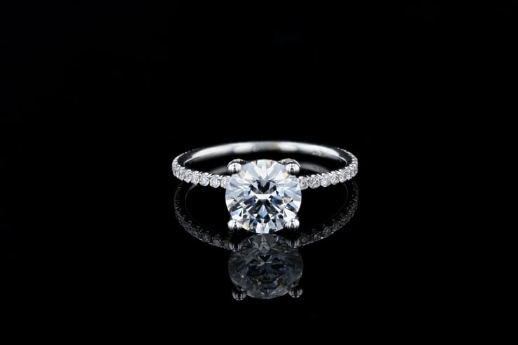 Round Solitaire Pave' Prongs & Band