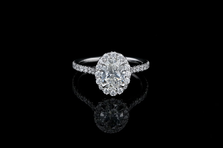 Oval Halo, Pave' Diamond Ring