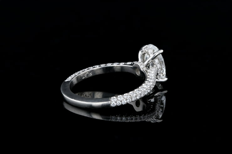 3 Sided Pave' Oval Solitaire Ring