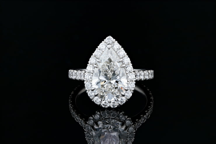 Pear Center, Pave' Halo Ring