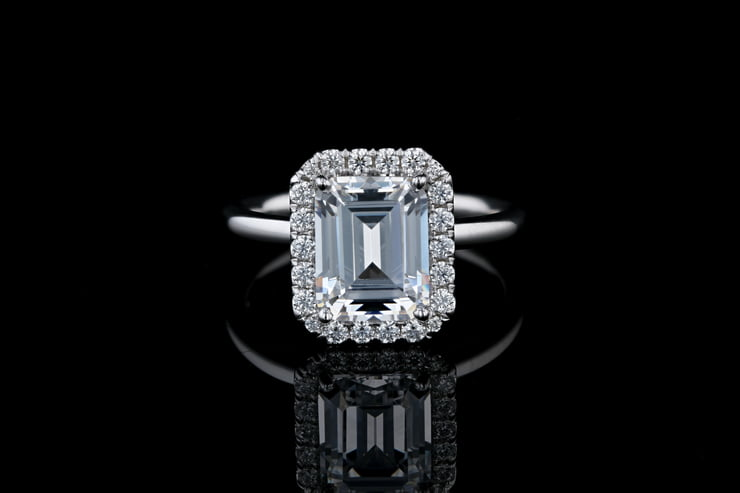 Emerald Cut Pave' Halo, Gold Band