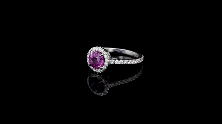 Round Pink Sapphire Halo Ring
