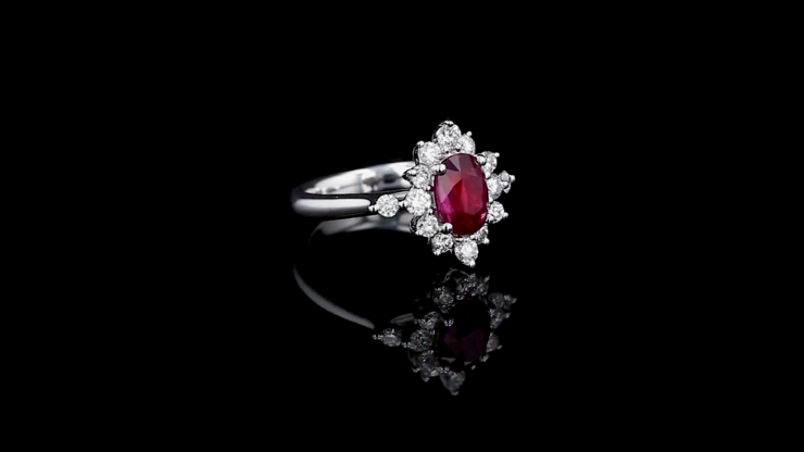 Oval Ruby Princess Diana Ring