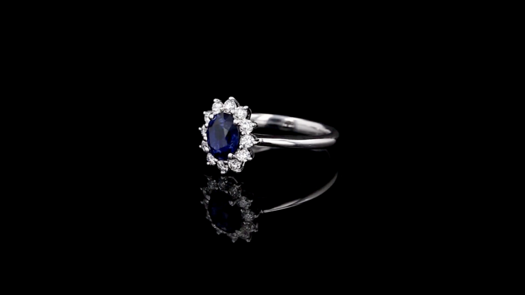 Oval Blue Sapphire Flower Halo