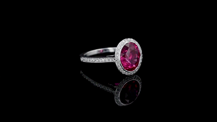 Oval Spinel Pave' Set Diamond Ring