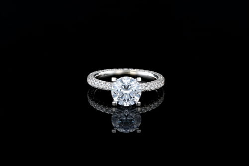 Round Solitaire 3 Row Pave' Eternity