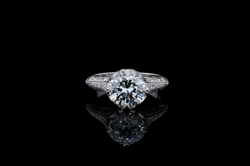 Vintage Pave' Set Milgrain Ring