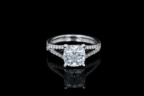 Split Shank Cushion Center Diamond Ring
