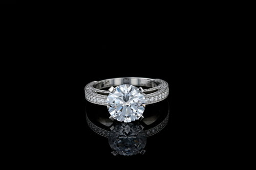 Round Solitaire 3 Sided Milgrain Pave'