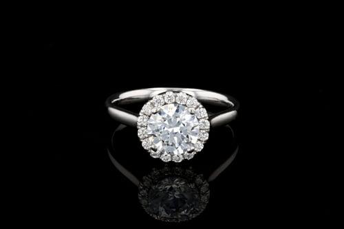 Round Diamond Halo, Gold Ring