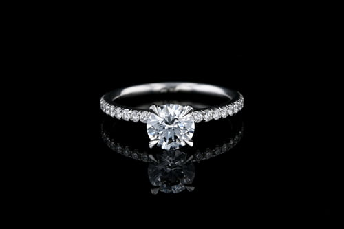 Round Solitaire Pave' Set Band