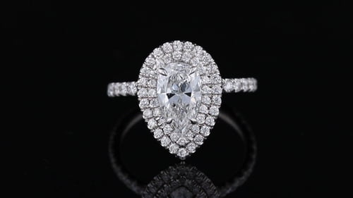 Pear Double Halo, Pave' Ring