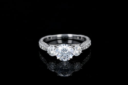 Three Stone Vintage 3 Sided Pave' 3 Stone Ring