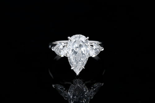 Classic 3 Stone Pear Diamond Ring