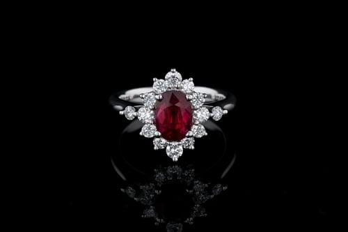 Oval Ruby Princess Diana Ring
