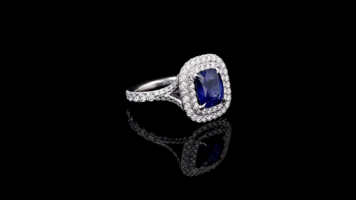 Cushion Sapphire 2 Halo Pave' Ring