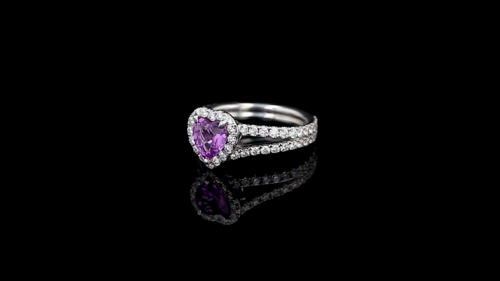 Heart Pink Sapphire Pave' Ring