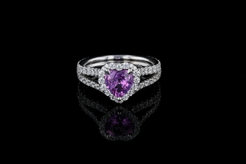 Gemstone Heart Pink Sapphire Pave' Ring