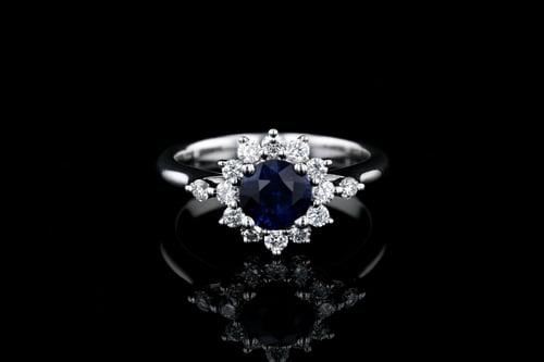 Round Blue Sapphire Flower Halo