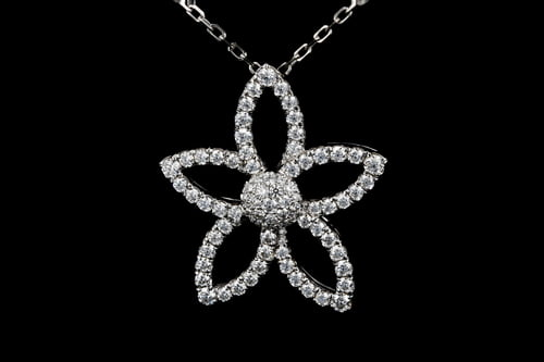 Plumeria Flower Pave' Diamond Pendant Necklace