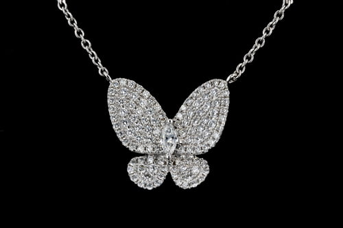 Pave' Diamond Butterfly Pendant on White Gold Chain