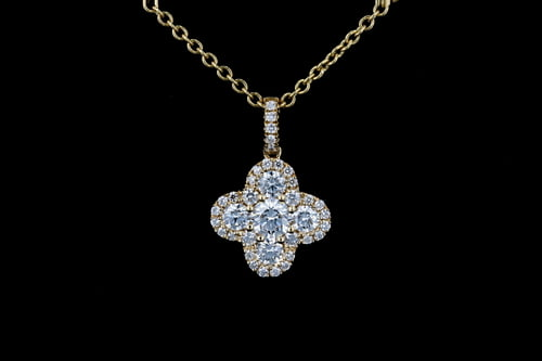 Large Round Pave' Clover Halo Pendant