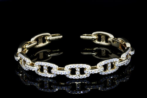 Pave' Open Link Diamond Cuff