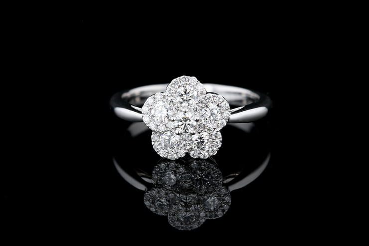 Pave' Diamond Flower Ring