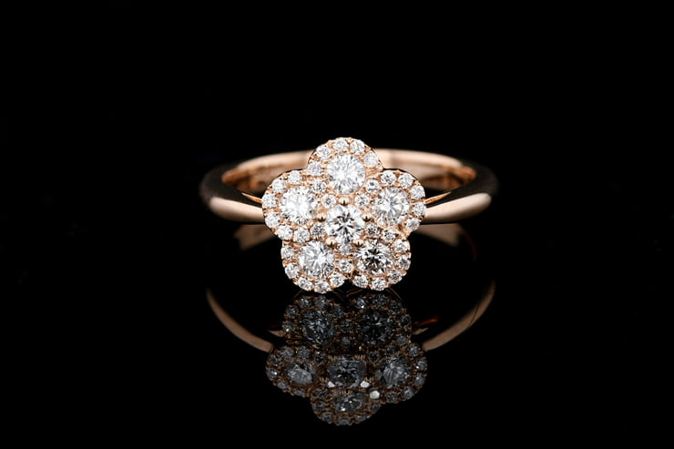 Pave' Rose Gold Flower Ring