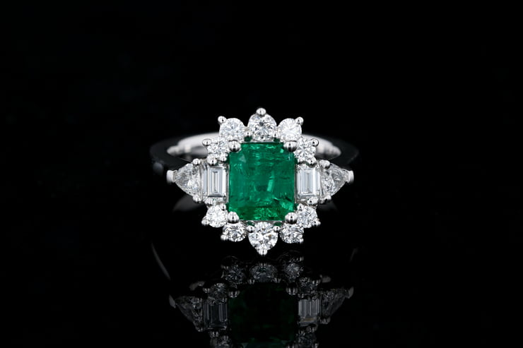 Emerald Cut Emerald Cocktail Ring