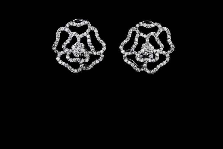 Flower-Shaped Diamond Clip-On Earrings