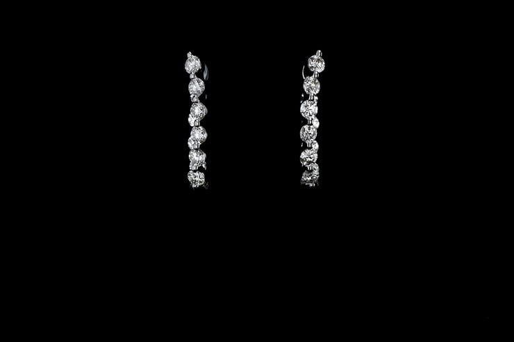 Inside Outside Diamond Hoop Earrings, Oval Shaped