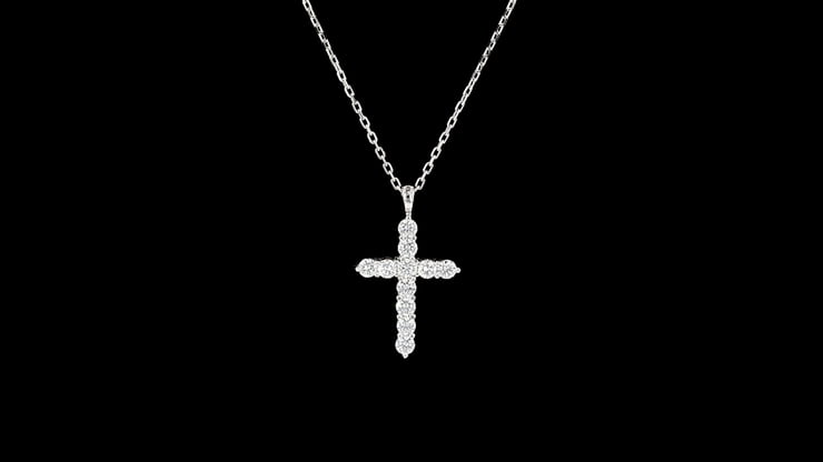 White Gold Large Diamond Cross