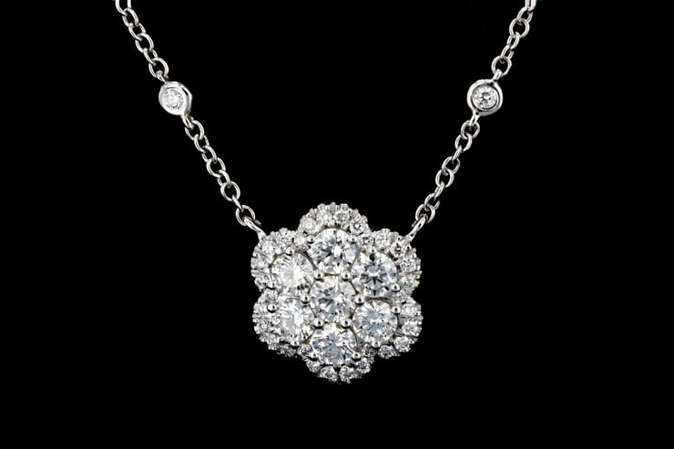 Diamond Flower Pendant with White Gold Necklace