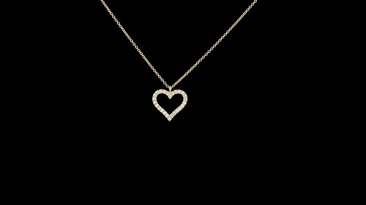 Pave' Diamond Open Heart Pendant, Yellow Gold Chain